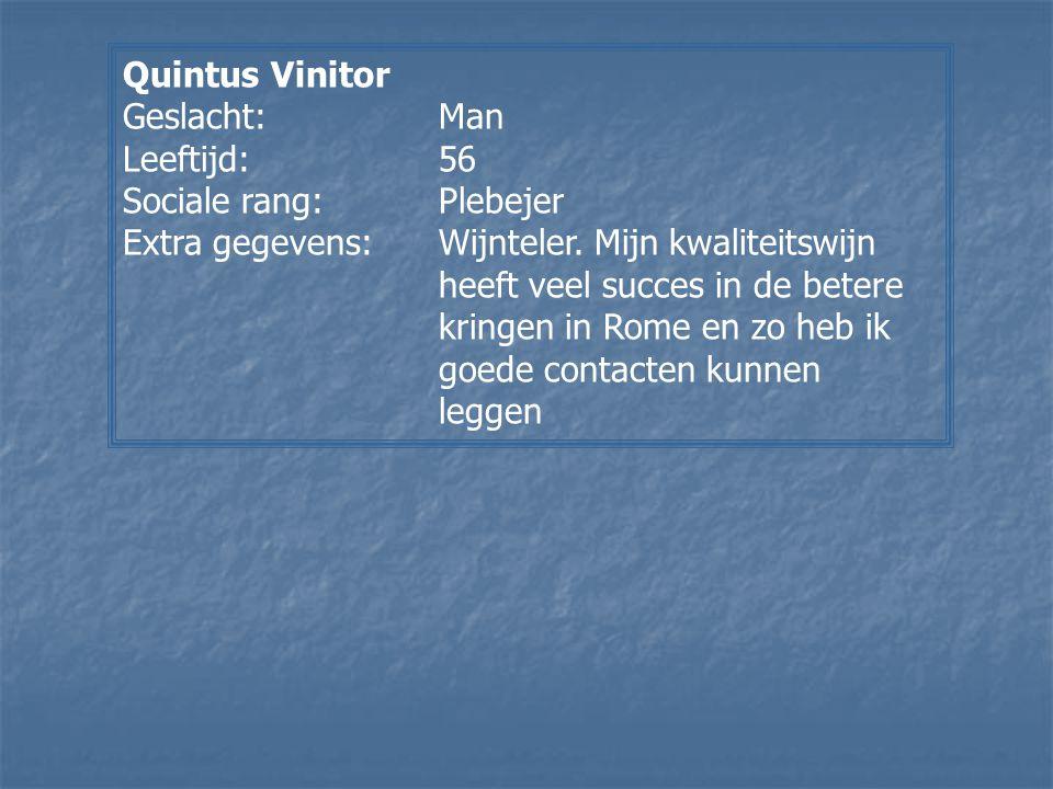 Quintus Vinitor Geslacht:Man Leeftijd:56 Sociale rang:Plebejer Extra gegevens:Wijnteler. Mijn kwaliteitswijn heeft veel succes in de betere kringen in
