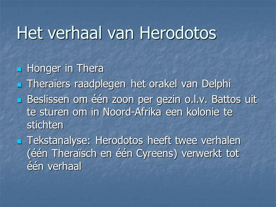 Het verhaal van Herodotos Honger in Thera Honger in Thera Theraïers raadplegen het orakel van Delphi Theraïers raadplegen het orakel van Delphi Beslis