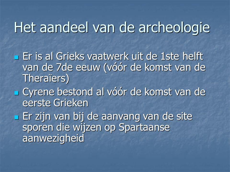 Het aandeel van de archeologie Er is al Grieks vaatwerk uit de 1ste helft van de 7de eeuw (vóór de komst van de Theraïers) Er is al Grieks vaatwerk ui