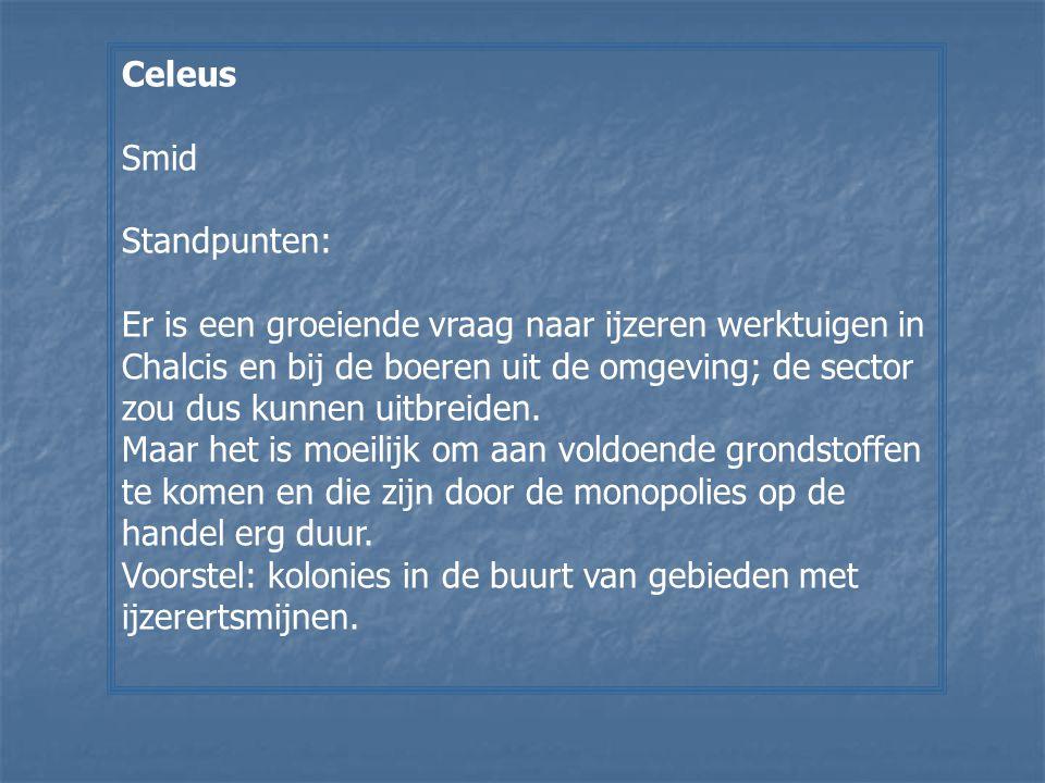 Celeus Smid Standpunten: Er is een groeiende vraag naar ijzeren werktuigen in Chalcis en bij de boeren uit de omgeving; de sector zou dus kunnen uitbr