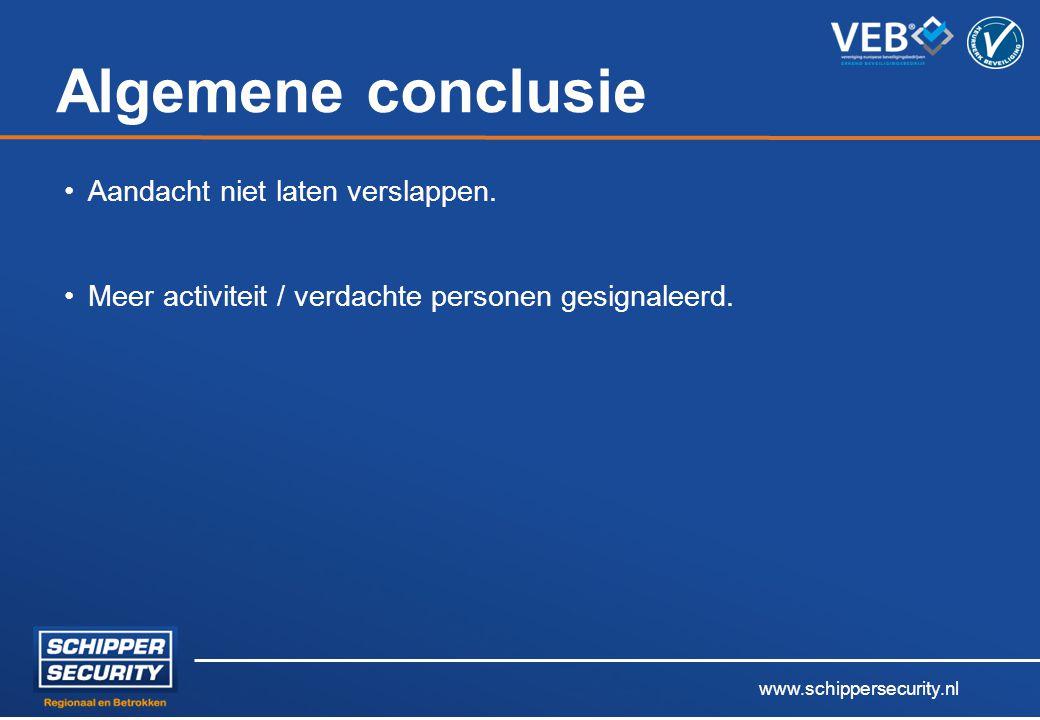 www.schippersecurity.nl Algemene conclusie Aandacht niet laten verslappen. Meer activiteit / verdachte personen gesignaleerd.