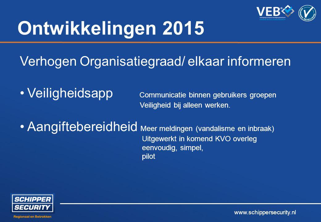 www.schippersecurity.nl Ontwikkelingen 2015 Verhogen Organisatiegraad/ elkaar informeren Veiligheidsapp Communicatie binnen gebruikers groepen Veiligh