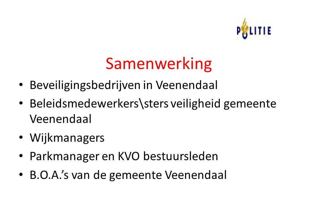 Samenwerking Beveiligingsbedrijven in Veenendaal Beleidsmedewerkers\sters veiligheid gemeente Veenendaal Wijkmanagers Parkmanager en KVO bestuursleden