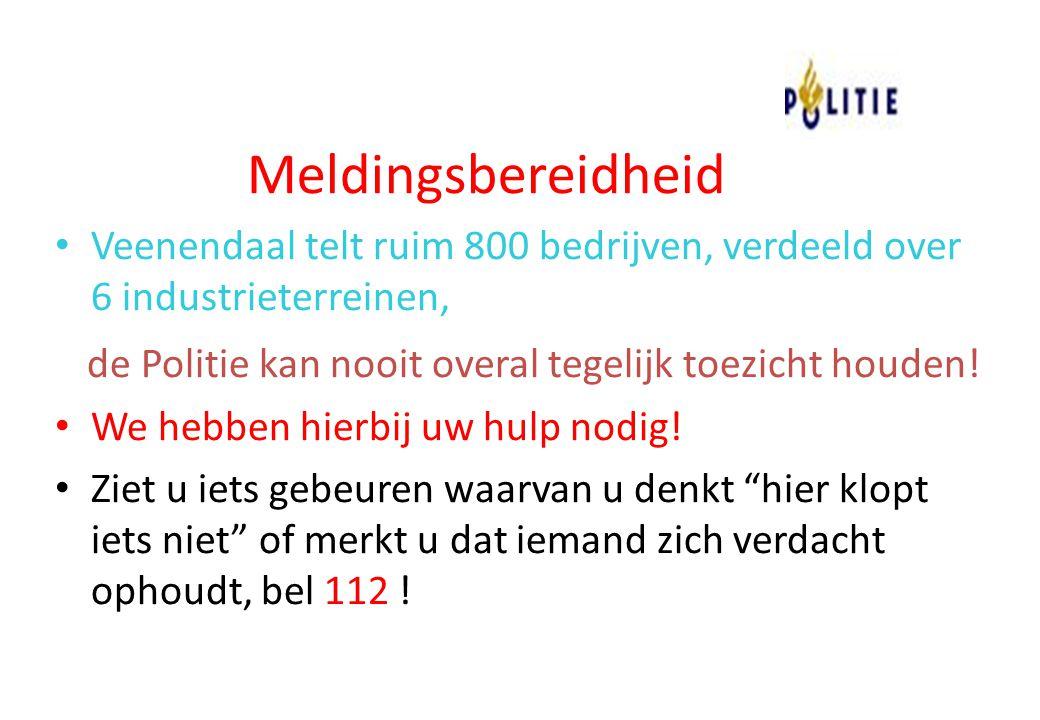 Meldingsbereidheid Veenendaal telt ruim 800 bedrijven, verdeeld over 6 industrieterreinen, de Politie kan nooit overal tegelijk toezicht houden! We he