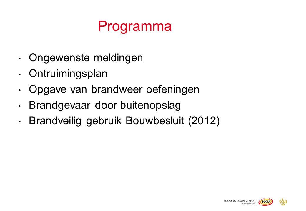 Programma Ongewenste meldingen Ontruimingsplan Opgave van brandweer oefeningen Brandgevaar door buitenopslag Brandveilig gebruik Bouwbesluit (2012)