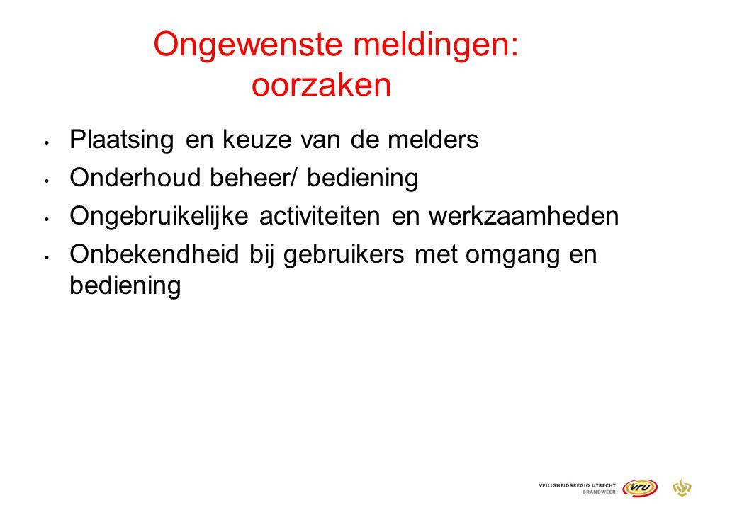 Ongewenste meldingen: oorzaken Plaatsing en keuze van de melders Onderhoud beheer/ bediening Ongebruikelijke activiteiten en werkzaamheden Onbekendhei