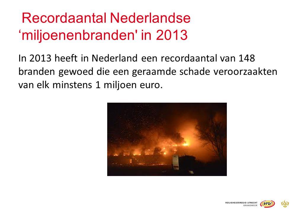 Recordaantal Nederlandse 'miljoenenbranden' in 2013 In 2013 heeft in Nederland een recordaantal van 148 branden gewoed die een geraamde schade veroorz