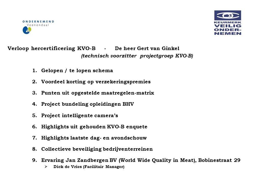 Verloop hercertificering KVO-B - De heer Gert van Ginkel (technisch voorzitter projectgroep KVO-B) 1.Gelopen / te lopen schema 2.Voordeel korting op v