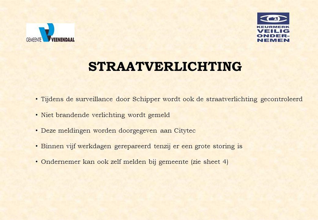 STRAATVERLICHTING Tijdens de surveillance door Schipper wordt ook de straatverlichting gecontroleerd Niet brandende verlichting wordt gemeld Deze meld
