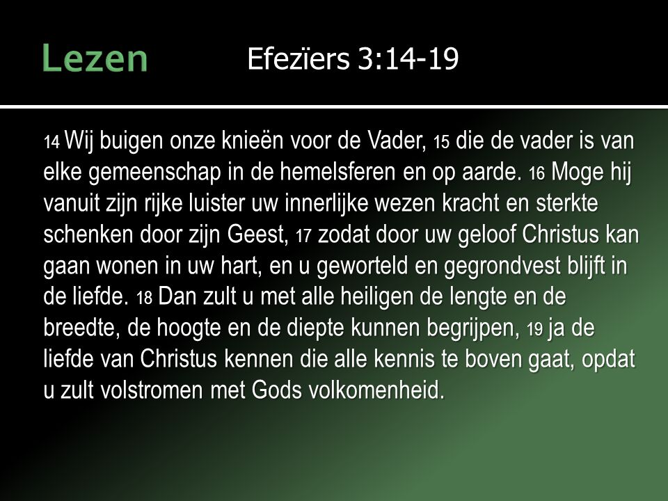 Efezïers 3:14-19 14 Wij buigen onze knieën voor de Vader, 15 die de vader is van elke gemeenschap in de hemelsferen en op aarde. 16 Moge hij vanuit zi