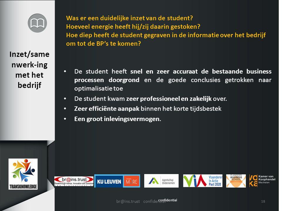 confidential Inzet/same nwerk-ing met het bedrijf De student heeft snel en zeer accuraat de bestaande business processen doorgrond en de goede conclus