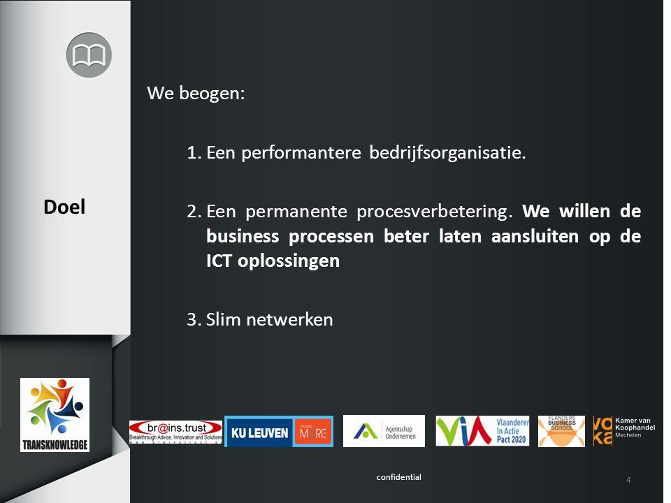 confidential 4 Doel We beogen: 1.Een performantere bedrijfsorganisatie.