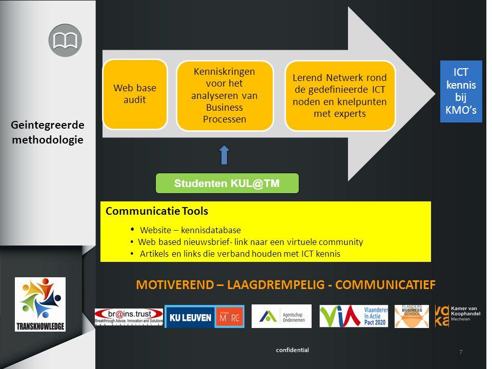 confidential 7 MOTIVEREND – LAAGDREMPELIG - COMMUNICATIEF Communicatie Tools Website – kennisdatabase Web based nieuwsbrief- link naar een virtuele co