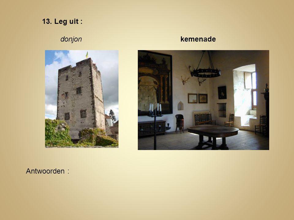 13. Leg uit : donjon kemenade Antwoorden :
