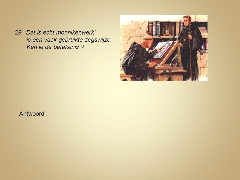 28. 'Dat is echt monnikenwerk' is een vaak gebruikte zegswijze. Ken je de betekenis ? Antwoord :