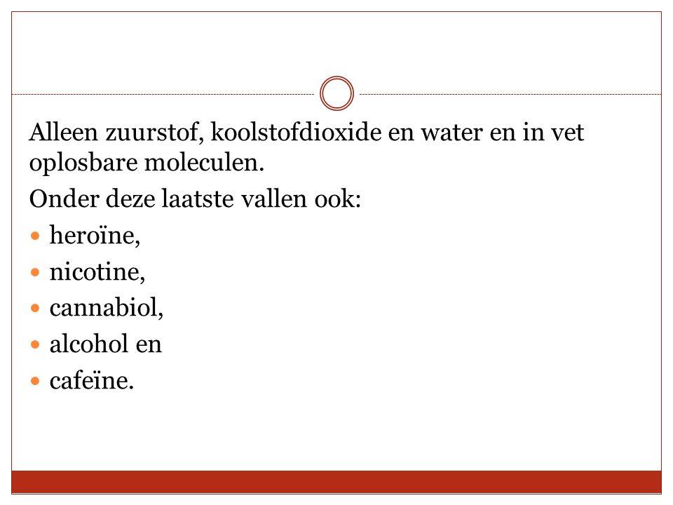 Alleen zuurstof, koolstofdioxide en water en in vet oplosbare moleculen. Onder deze laatste vallen ook: heroïne, nicotine, cannabiol, alcohol en cafeï