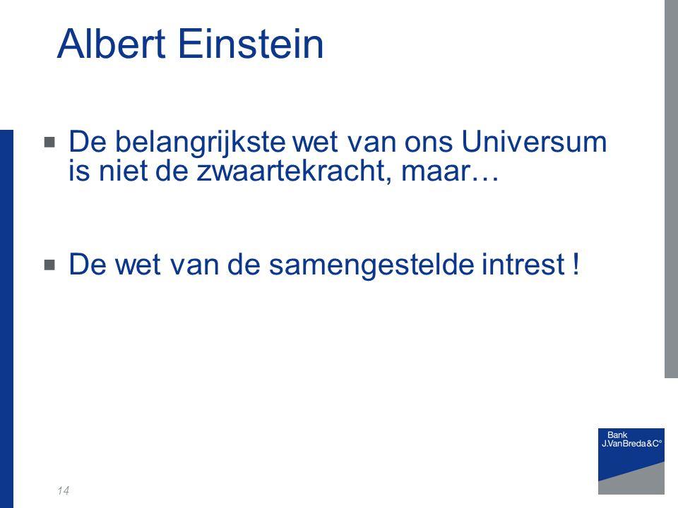 14 Albert Einstein  De belangrijkste wet van ons Universum is niet de zwaartekracht, maar…  De wet van de samengestelde intrest !