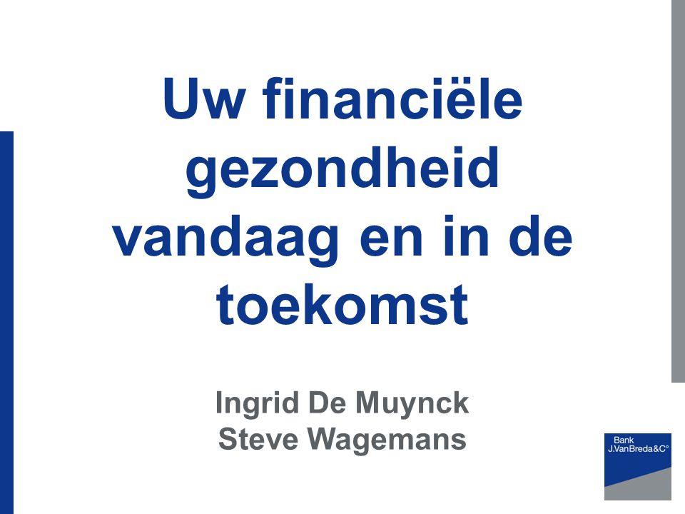Uw financiële gezondheid vandaag en in de toekomst Ingrid De Muynck Steve Wagemans
