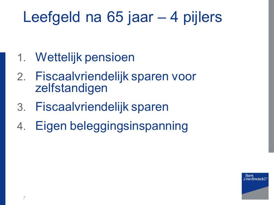 7 Leefgeld na 65 jaar – 4 pijlers 1. Wettelijk pensioen 2.
