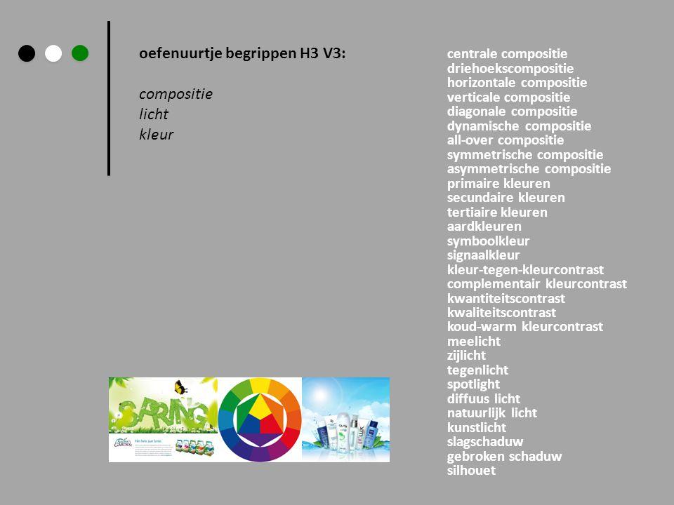 oefenuurtje begrippen H3 V3: compositie licht kleur centrale compositie driehoekscompositie horizontale compositie verticale compositie diagonale comp