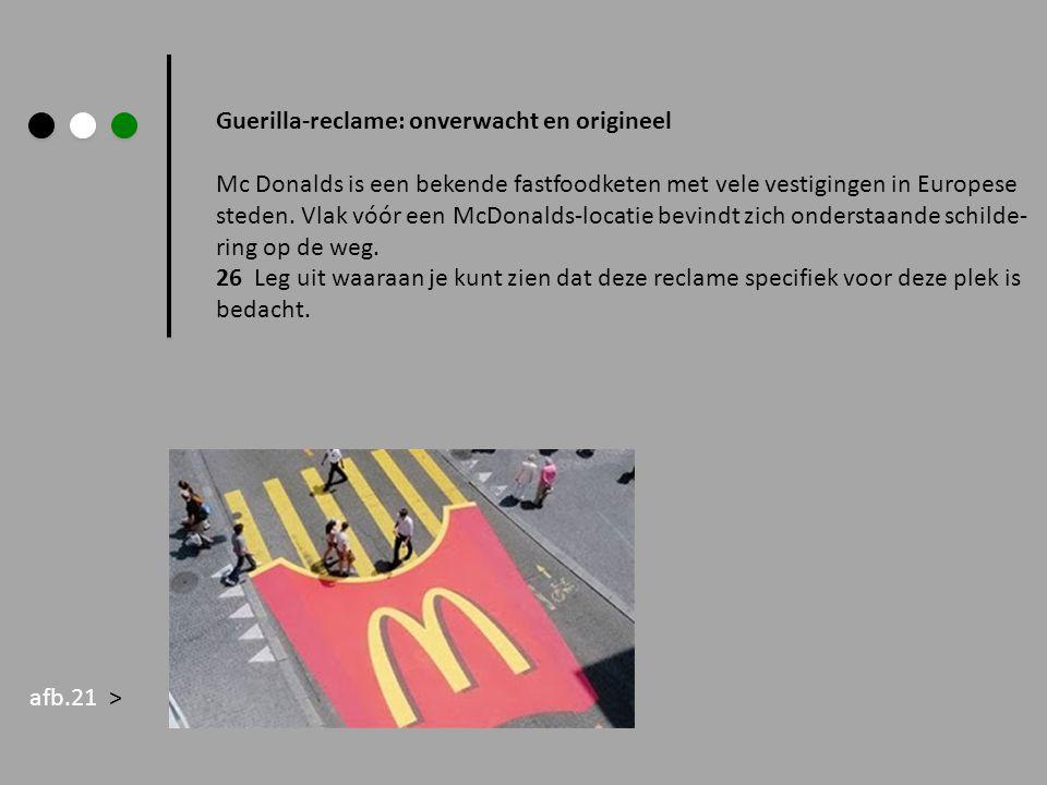 Guerilla-reclame: onverwacht en origineel Mc Donalds is een bekende fastfoodketen met vele vestigingen in Europese steden. Vlak vóór een McDonalds-loc