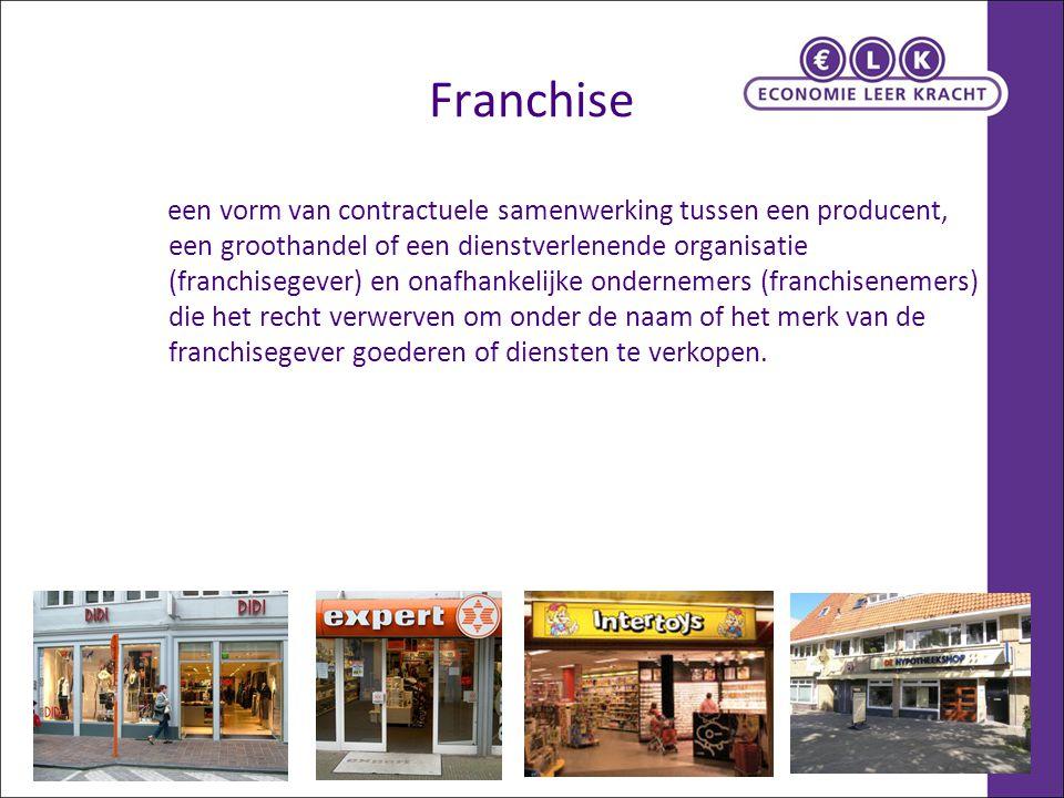 Franchise een vorm van contractuele samenwerking tussen een producent, een groothandel of een dienstverlenende organisatie (franchisegever) en onafhankelijke ondernemers (franchisenemers) die het recht verwerven om onder de naam of het merk van de franchisegever goederen of diensten te verkopen.