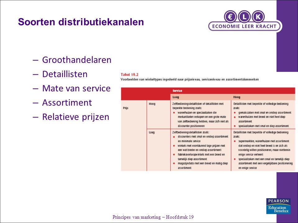Soorten distributiekanalen – Groothandelaren – Detaillisten – Mate van service – Assortiment – Relatieve prijzen Principes van marketing – Hoofdstuk 19