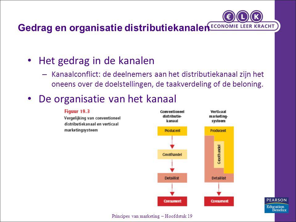 Gedrag en organisatie distributiekanalen Het gedrag in de kanalen – Kanaalconflict: de deelnemers aan het distributiekanaal zijn het oneens over de doelstellingen, de taakverdeling of de beloning.