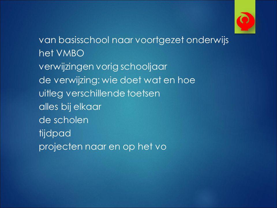 van basisschool naar voortgezet onderwijs het VMBO verwijzingen vorig schooljaar de verwijzing: wie doet wat en hoe uitleg verschillende toetsen alles