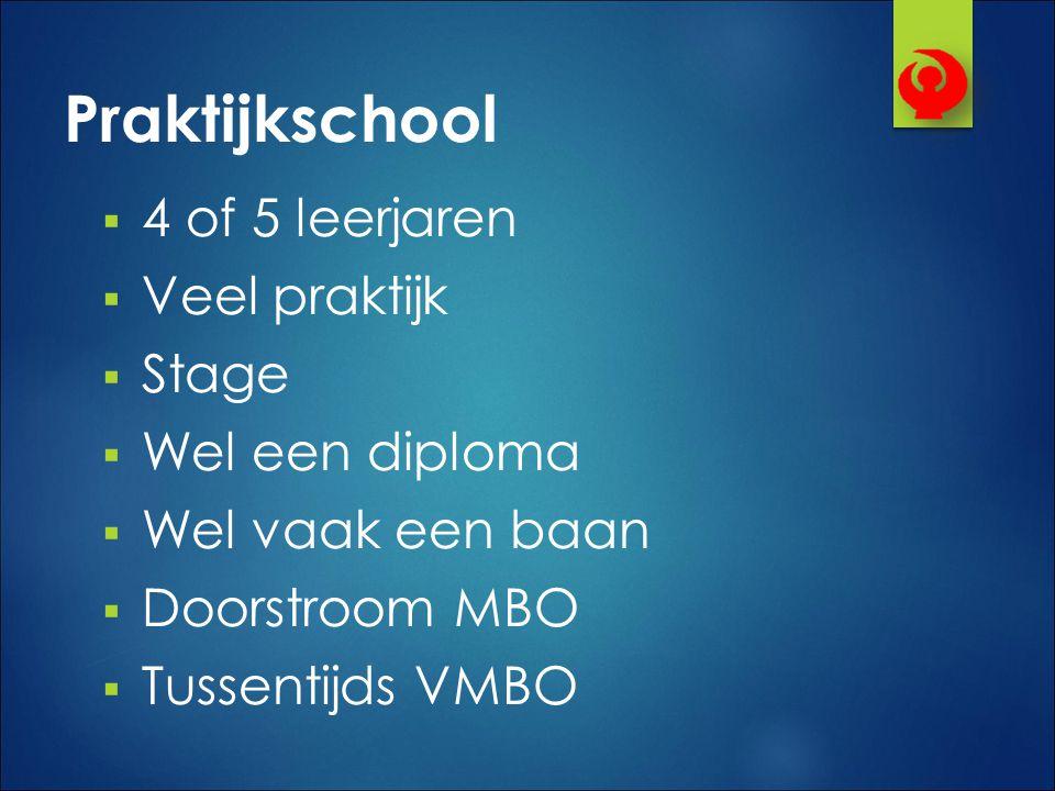 Praktijkschool  4 of 5 leerjaren  Veel praktijk  Stage  Wel een diploma  Wel vaak een baan  Doorstroom MBO  Tussentijds VMBO