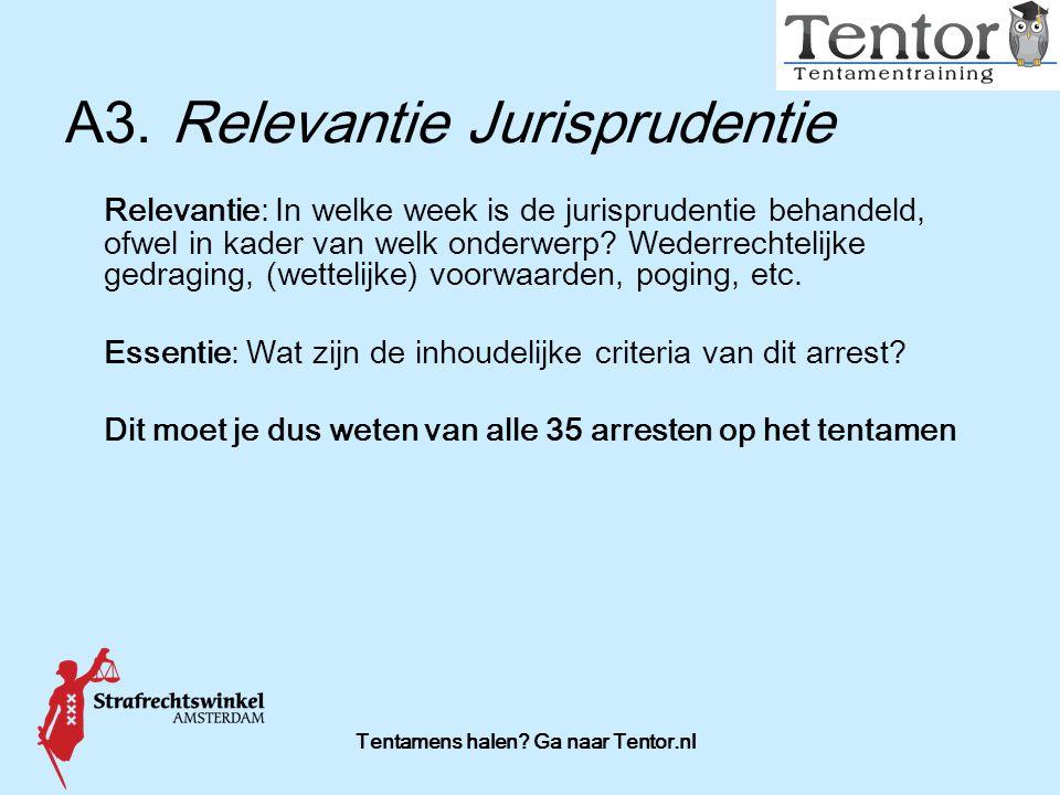 Tentamens halen? Ga naar Tentor.nl A3.Relevantie Jurisprudentie Relevantie: In welke week is de jurisprudentie behandeld, ofwel in kader van welk onde