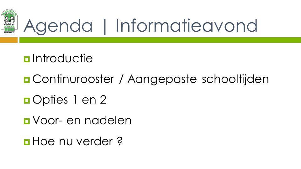Agenda | Informatieavond  Introductie  Continurooster / Aangepaste schooltijden  Opties 1 en 2  Voor- en nadelen  Hoe nu verder ?