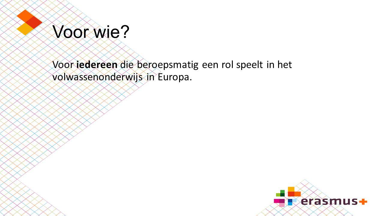 Voor wie? Voor iedereen die beroepsmatig een rol speelt in het volwassenonderwijs in Europa.