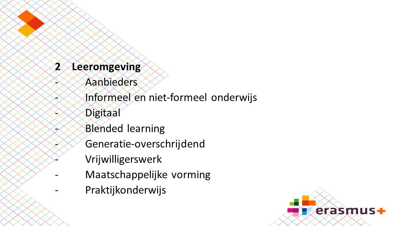 2Leeromgeving -Aanbieders -Informeel en niet-formeel onderwijs -Digitaal -Blended learning -Generatie-overschrijdend -Vrijwilligerswerk -Maatschappeli