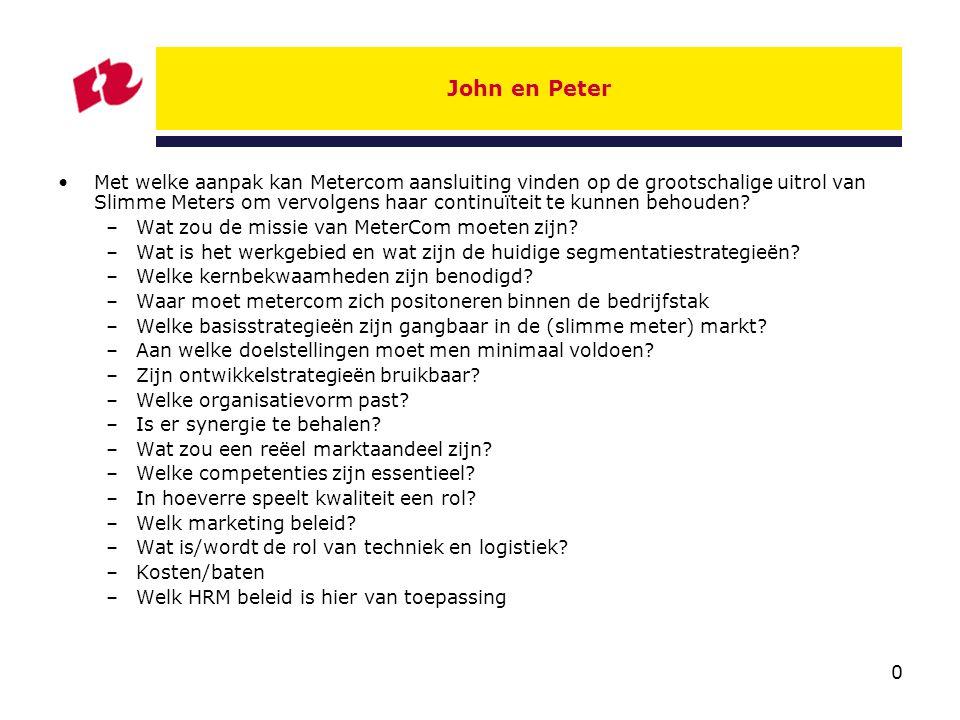 0 John en Peter Met welke aanpak kan Metercom aansluiting vinden op de grootschalige uitrol van Slimme Meters om vervolgens haar continuïteit te kunnen behouden.