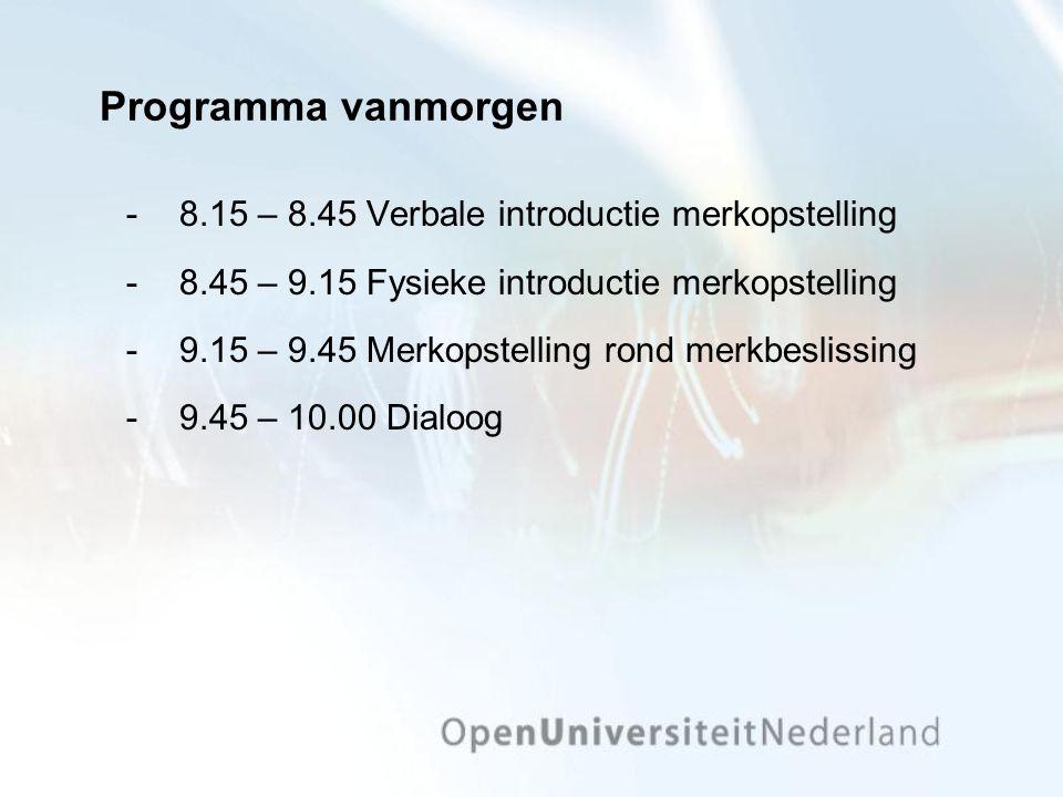Programma vanmorgen 8.15 – 8.45 Verbale introductie merkopstelling 8.45 – 9.15 Fysieke introductie merkopstelling 9.15 – 9.45 Merkopstelling rond merkbeslissing 9.45 – 10.00 Dialoog
