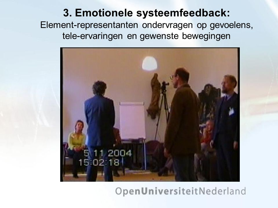 3. Emotionele systeemfeedback: Element-representanten ondervragen op gevoelens, tele-ervaringen en gewenste bewegingen