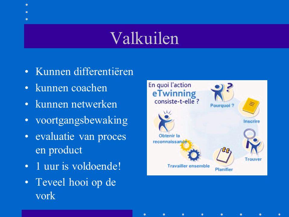 Valkuilen Kunnen differentiëren kunnen coachen kunnen netwerken voortgangsbewaking evaluatie van proces en product 1 uur is voldoende.