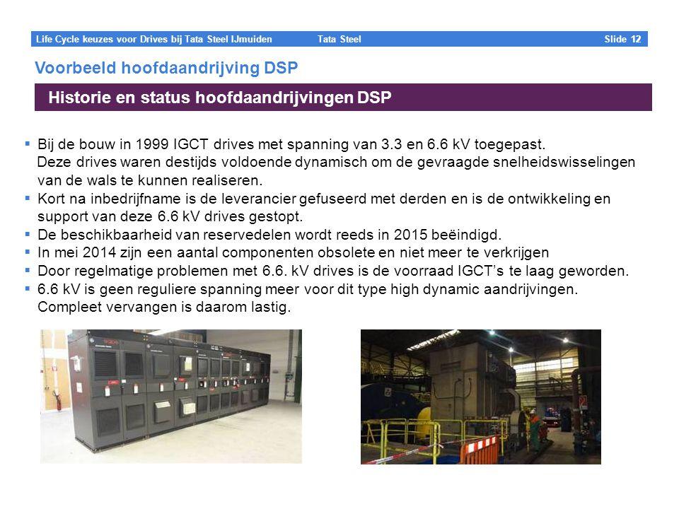 Tata Steel Slide 12 Life Cycle keuzes voor Drives bij Tata Steel IJmuiden  Bij de bouw in 1999 IGCT drives met spanning van 3.3 en 6.6 kV toegepast.