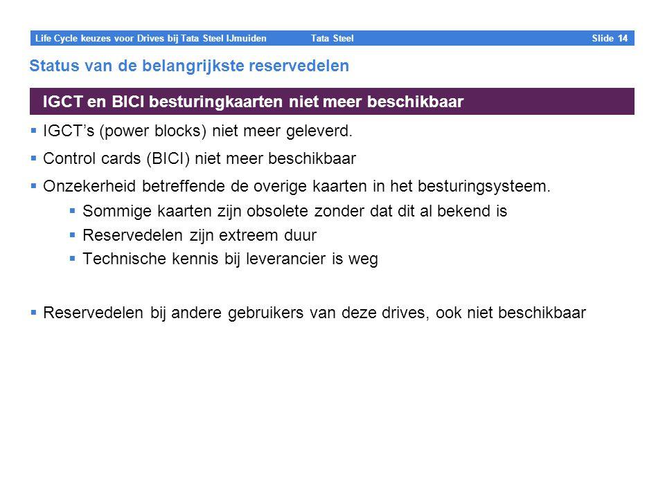 Tata Steel Slide 14 Life Cycle keuzes voor Drives bij Tata Steel IJmuiden Status van de belangrijkste reservedelen  IGCT's (power blocks) niet meer geleverd.