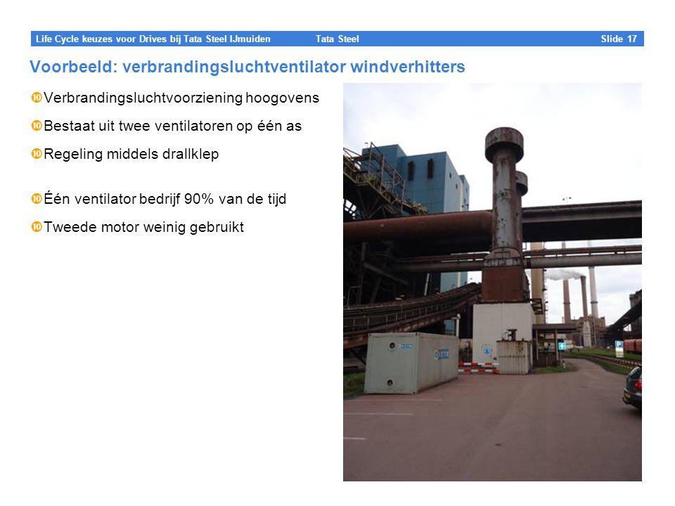 Tata Steel Slide 17 Life Cycle keuzes voor Drives bij Tata Steel IJmuiden Voorbeeld: verbrandingsluchtventilator windverhitters  Verbrandingsluchtvoorziening hoogovens  Bestaat uit twee ventilatoren op één as  Regeling middels drallklep  Één ventilator bedrijf 90% van de tijd  Tweede motor weinig gebruikt