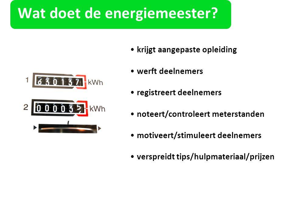 Wat doet de energiemeester? krijgt aangepaste opleiding werft deelnemers registreert deelnemers noteert/controleert meterstanden motiveert/stimuleert