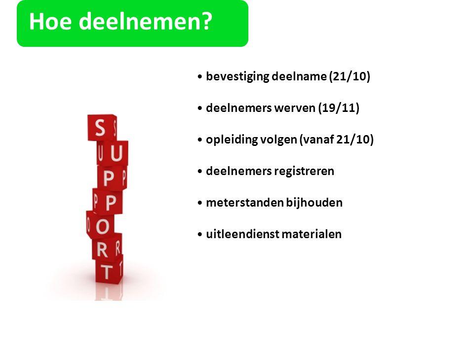 Hoe deelnemen? bevestiging deelname (21/10) deelnemers werven (19/11) opleiding volgen (vanaf 21/10) deelnemers registreren meterstanden bijhouden uit