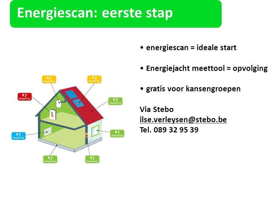 Energiescan: eerste stap energiescan = ideale start Energiejacht meettool = opvolging gratis voor kansengroepen Via Stebo ilse.verleysen@stebo.be Tel.