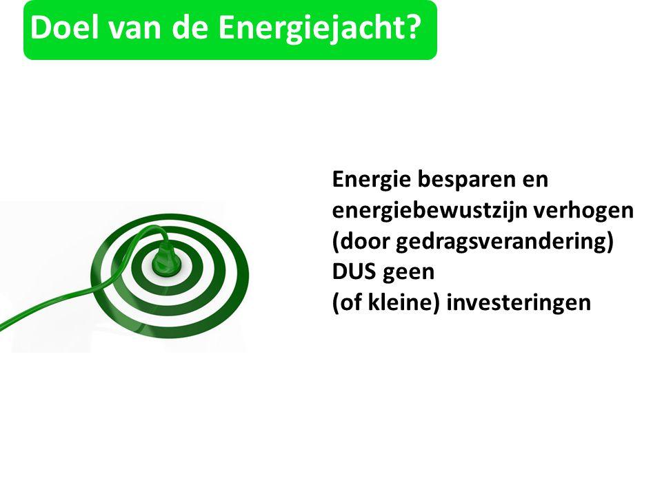 Doel van de Energiejacht? Energie besparen en energiebewustzijn verhogen (door gedragsverandering) DUS geen (of kleine) investeringen
