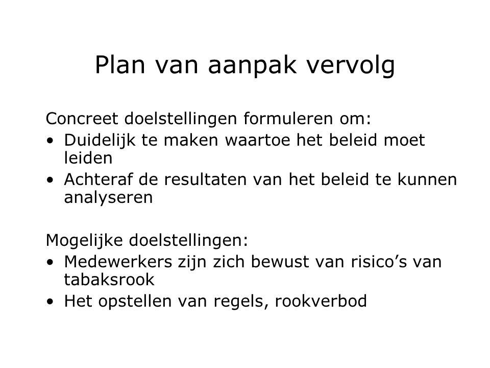 Plan van aanpak vervolg Concreet doelstellingen formuleren om: Duidelijk te maken waartoe het beleid moet leiden Achteraf de resultaten van het beleid