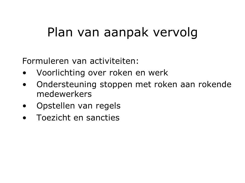 Plan van aanpak vervolg Formuleren van activiteiten: Voorlichting over roken en werk Ondersteuning stoppen met roken aan rokende medewerkers Opstellen