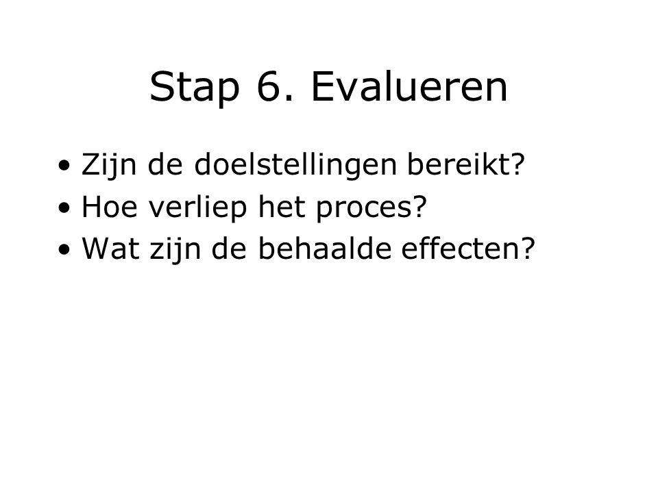 Stap 6. Evalueren Zijn de doelstellingen bereikt? Hoe verliep het proces? Wat zijn de behaalde effecten?