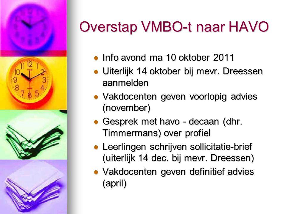 Overstap VMBO-t naar HAVO Info avond ma 10 oktober 2011 Info avond ma 10 oktober 2011 Uiterlijk 14 oktober bij mevr. Dreessen aanmelden Uiterlijk 14 o