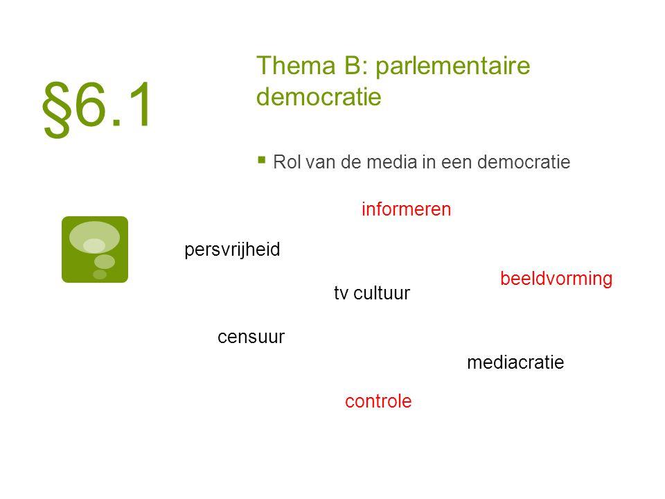 Thema B: parlementaire democratie  Rol van de media in een democratie persvrijheid informeren censuur controle beeldvorming tv cultuur mediacratie §6.1